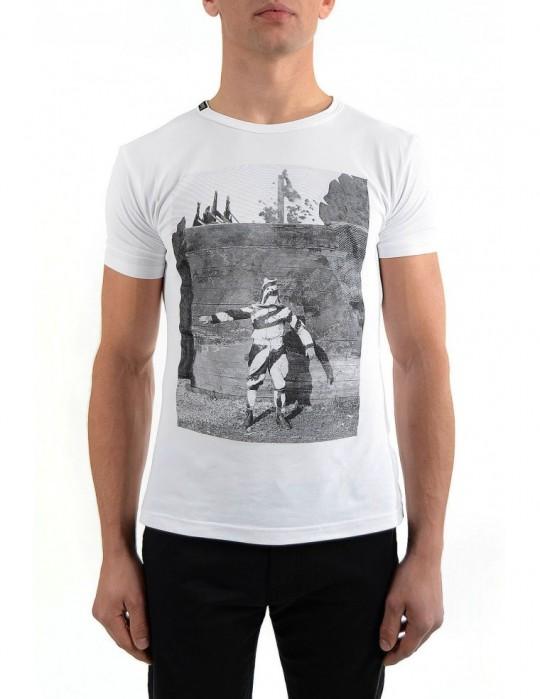 koszulka SELEPCENY  biała z czarnym nadrukiem