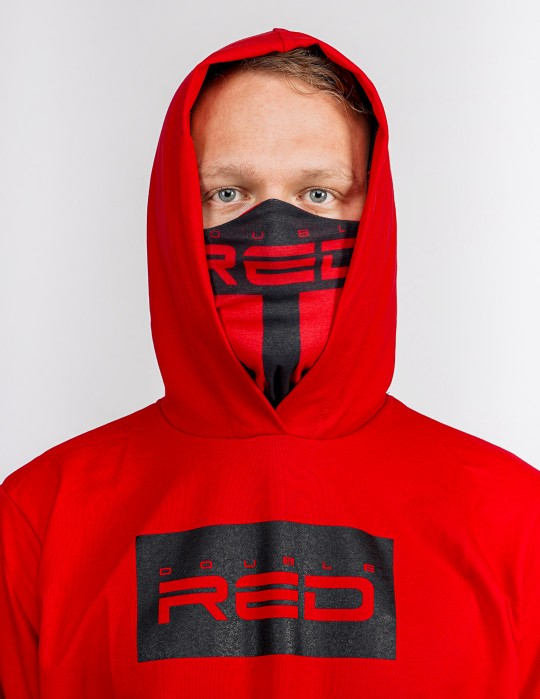 Red 2in1 Hoodie & Snood Black