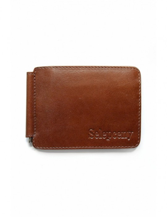 Portfel SY SELEPCENY BROWN 100% GENUINE LEATHER BILLFOLD WALLET