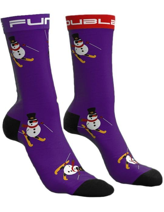 DOUBLE FUN Socks Snow Man Like A Boss Purple