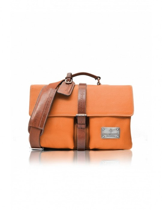 Torebka SIGNATURE ALTER ORANGE HANDMADE 100% GENUINE LEATHER