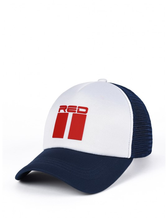DOUBLE RED 3D Blue/White Trucker Cap