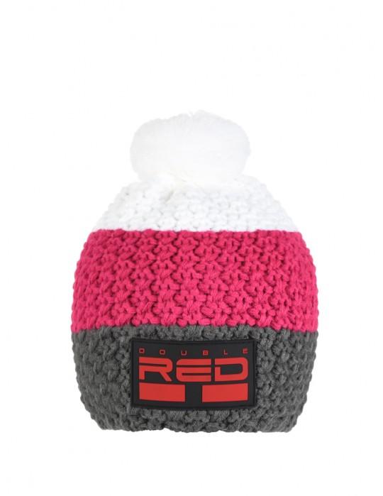 DOUBLE RED COURCHEVEL Pompom Cap Dark Grey/Pink/White