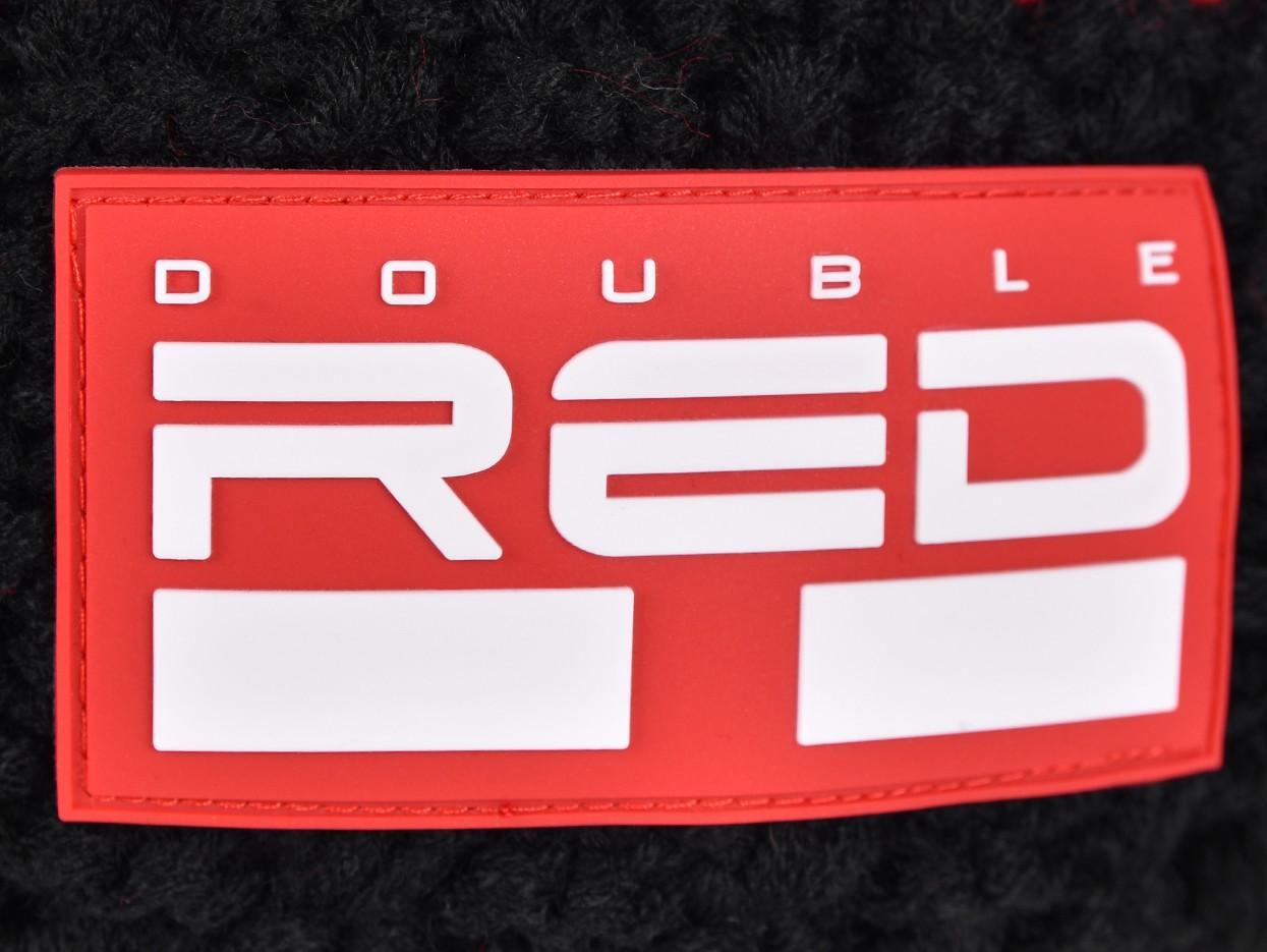 DOUBLE RED COURCHEVEL Pompom Cap Black/Red/White