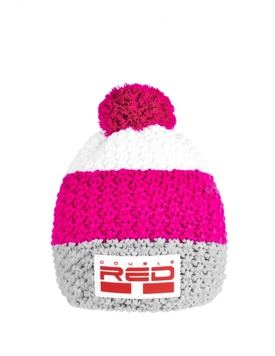 DOUBLE RED COURCHEVEL Pompom Cap Grey/Pink/White