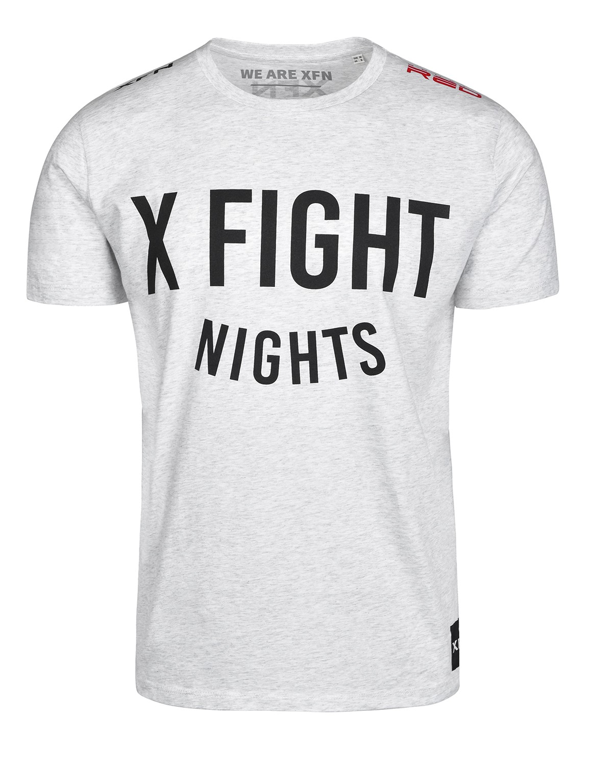T-Shirt X FIGHT & DOUBLE RED Cooperation Melange Light Grey