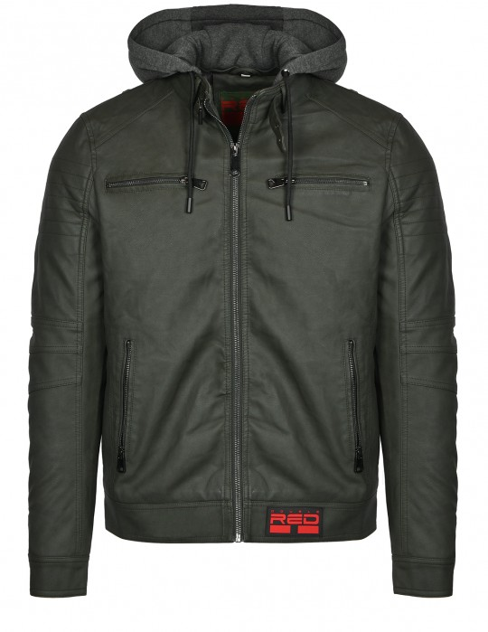 STREET HERO Leather Jacket Olive