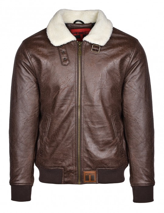 WRAITH Leather Jacket Brown White Fur