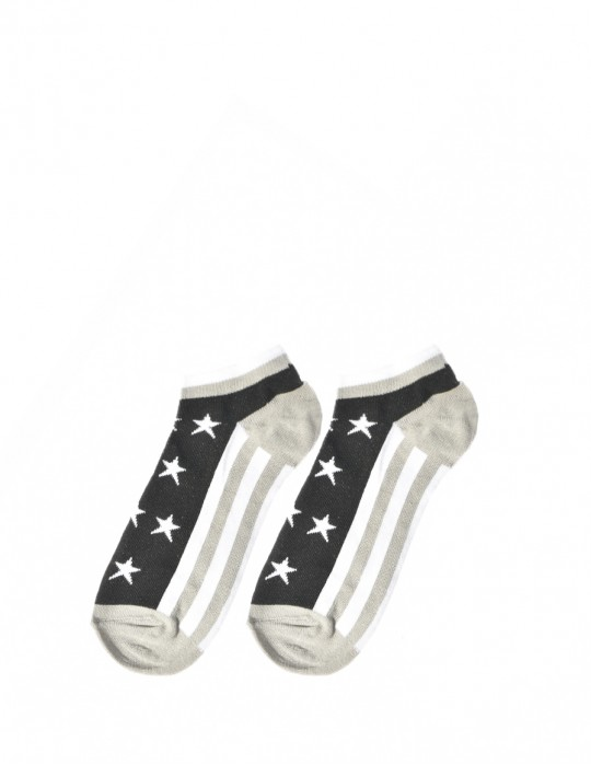 Men's FUN Low Cut Socks Stars Grey
