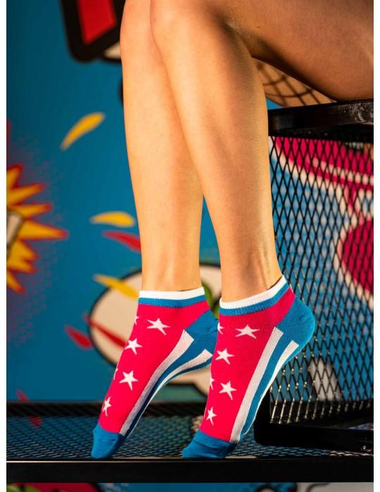 Women's Low Cut FUN Socks Stars Pink